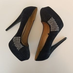 Zara Trafaluc Black Suede Heels 8.5